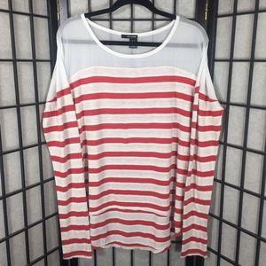 Women DKNY Red White Striped Long Sleeve Blouse BD
